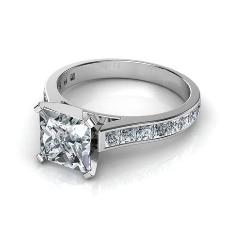 Engagement Rings On by Princess Cut Channel Set Engagement Ring