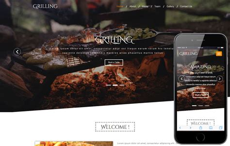 grilling a restaurant category bootstrap responsive web