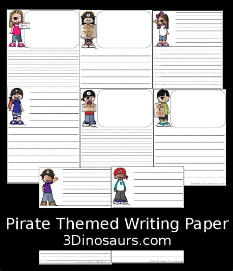 pirate writing paper pirate themed writing paper free 3 dinosaurs