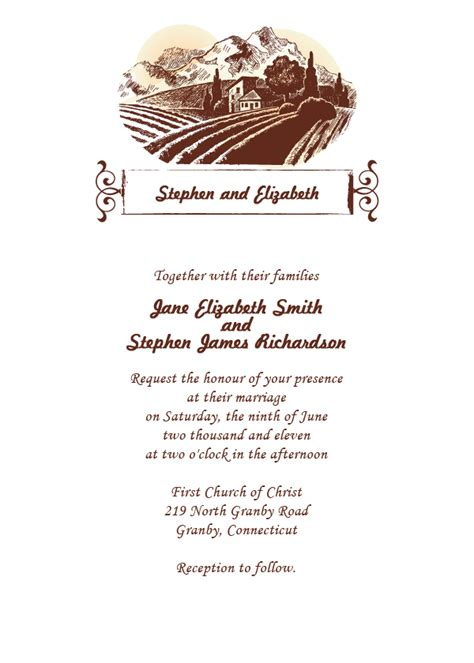 sonoma country wedding invitation template wedding