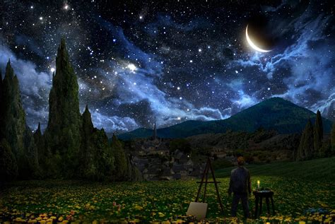 starry night desktop backgrounds wallpaper cave