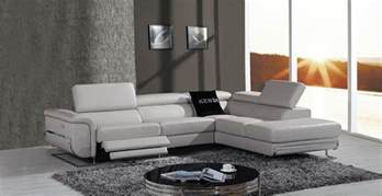 Leather Sectional Sofa With Recliner Divani Casa E9054 Modern Grey Leather Sectional Sofa W Recliner