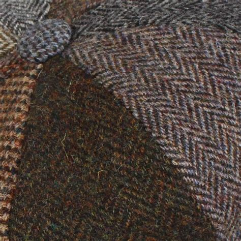 Tweed Patchwork - harris tweed patchwork 8 button gatsby bakerboy