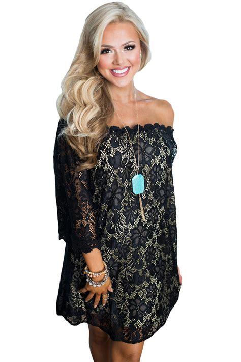 Shoulder 3 4 Sleeve Dress black the shoulder 3 4 sleeve floral lace dress