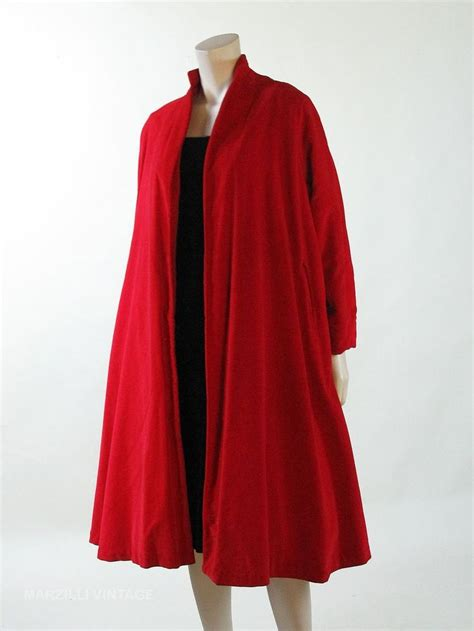 vintage swing coat 1950s vintage crimson velvet swing coat i coats pinterest