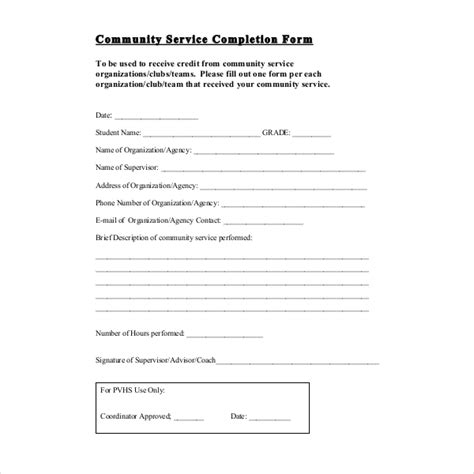 Letter Of Completion Of Community Service Template 12 Sle Community Service Forms Sle Forms