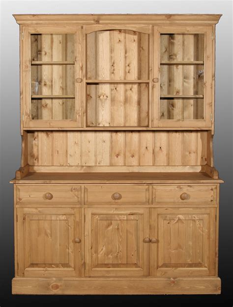 Waxed Pine Dresser by Pine Edwardian 4ft6 3 Drawer 3 Cupboard Glazed Topped