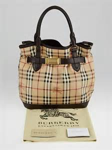 Burberry Check Canvas Tote by Burberry Haymarket Check Coated Canvas Medium Goldertone
