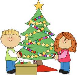 kids decorating a christmas tree clip art kids