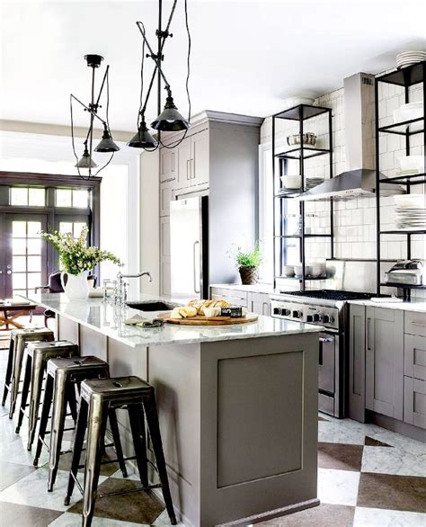 french bistro kitchen room design with checkerboard floors the most stylish ikea kitchens we ve seen mydomaine