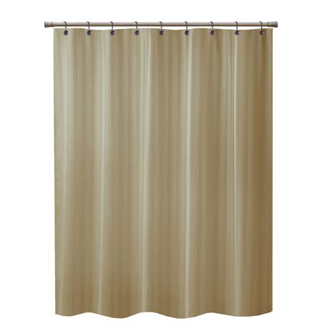 shower curtains lowes shop allen roth townsend polyester taupe striped shower
