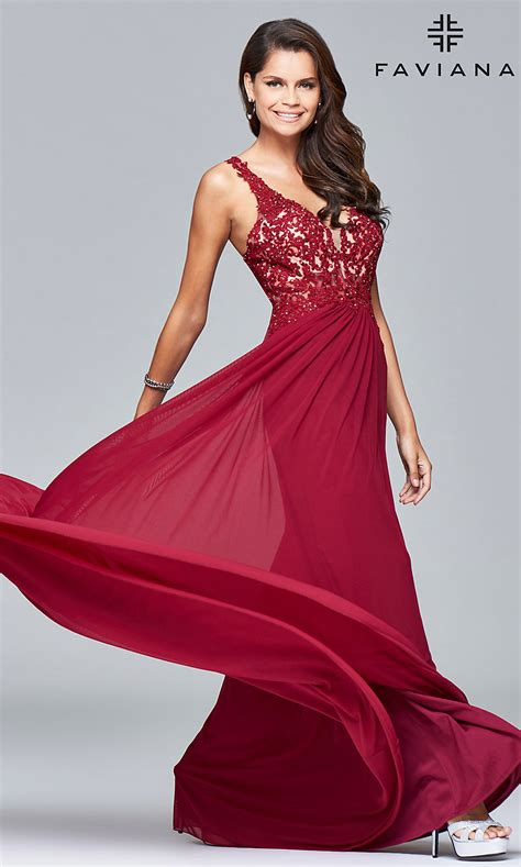 lace applique  neck faviana prom dress promgirl