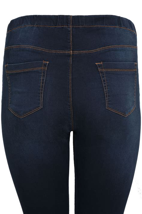 Pot Tawon No 27 indigo blue pull on jeggings plus size 14 to 36