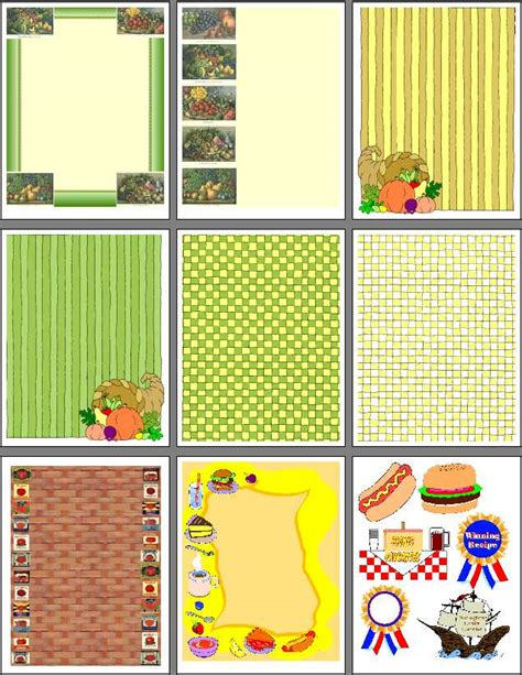 scrapbooking templates free printables printable recipe scrapbook designs for food scrapbooking