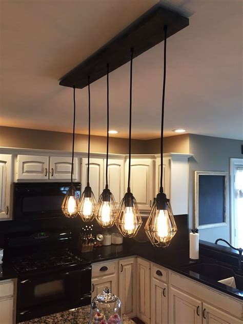 kitchen island chandelier lighting reclaimed wood chandelier 5 cage pendants pendant