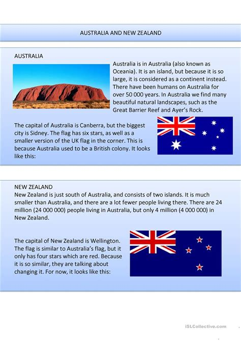 australia new zealand quiz worksheet free esl australia and new zealand worksheet free esl printable