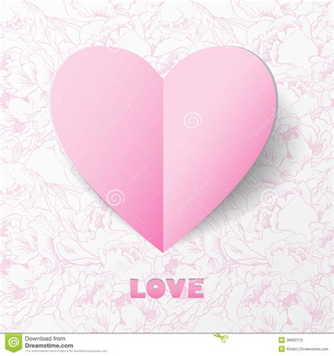 paper heart love card on flower background template for