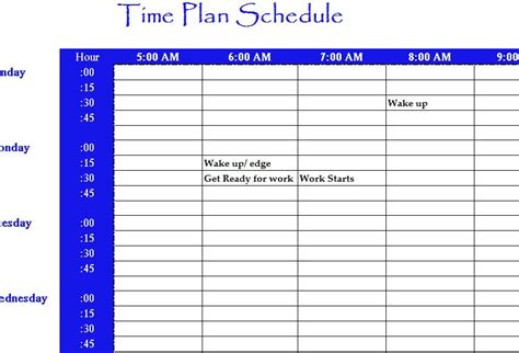 time schedule chart template time plan schedule my excel templates