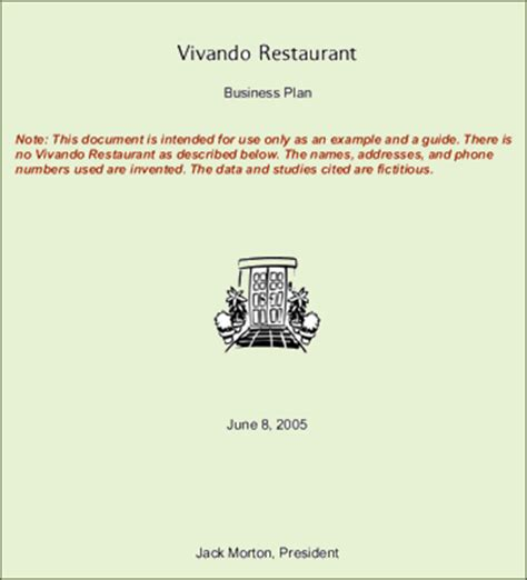 Business Plan Cover Letter For A Restaurant Restaurant Business Plan