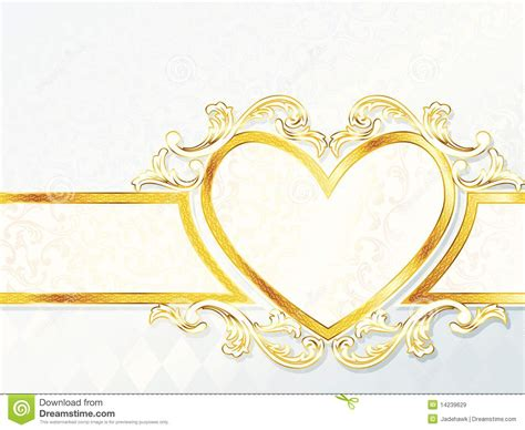 horizontal rococo wedding banner  heart emblem stock
