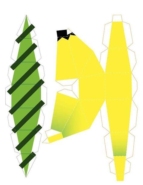 Origami Banana - banana frutero armable material imprimible