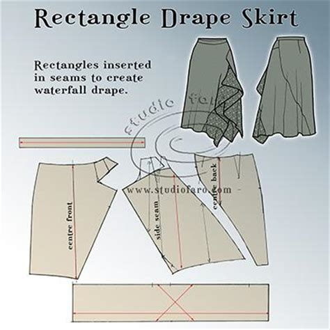 Two Side Draped Skirt pattern puzzle rectangle drape skirt well suited
