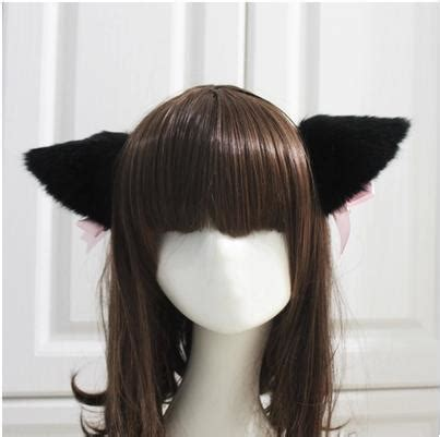Od Jaket Kittyball White free shipping white black fur cat fox ear hair clip bell handband headwear club in