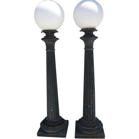 cast iron l post pair of cast iron post building lights by union metal co