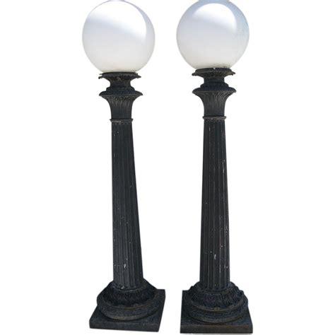 cast aluminum l post pair of cast iron post building lights by union co