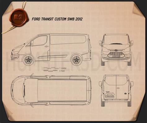 custom blueprints ford transit custom swb 2012 blueprint hum3d