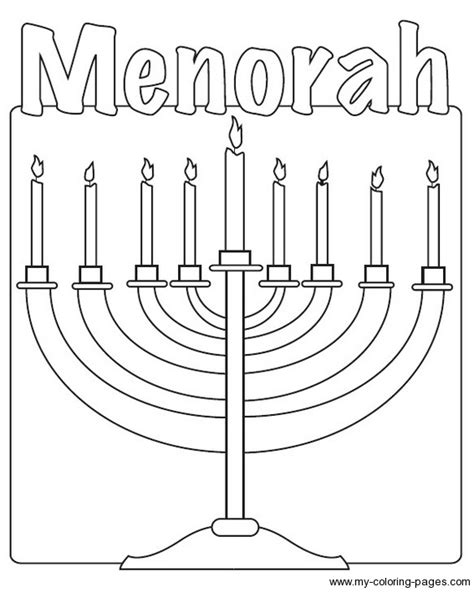 coloring page of menorah hanukkah coloring pages getcoloringpages com