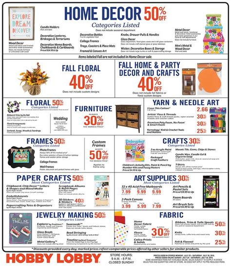 hobby lobby ls on sale hobby lobby coupons sales schedule pinteres