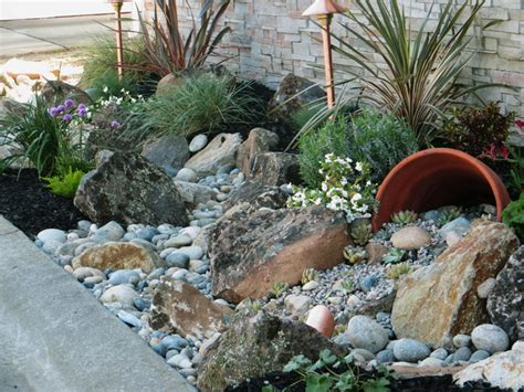 backyard landscaping with rocks low water gardens traditional landscape other metro