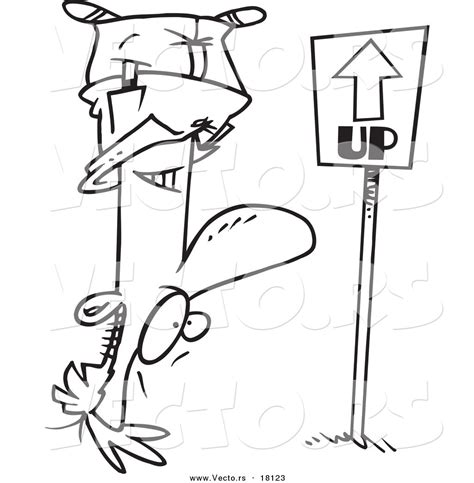 upside down coloring page larger preview vector of a cartoon reversed man upside