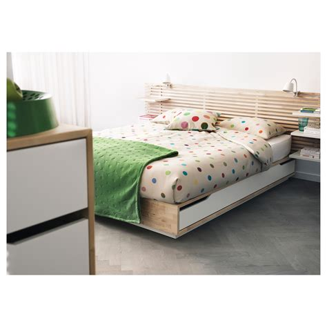 Mandal Bed Frame With Storage Review Mandal Bed Frame With Storage Birch White 140x202 Cm Ikea