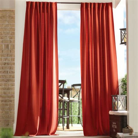 red outdoor curtains home decorators collection semi opaque chili red outdoor