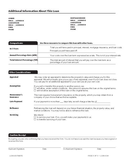loan estimate template free