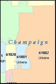 Champaign Il Zip Code Map by Champaign County Illinois Digital Zip Code Map