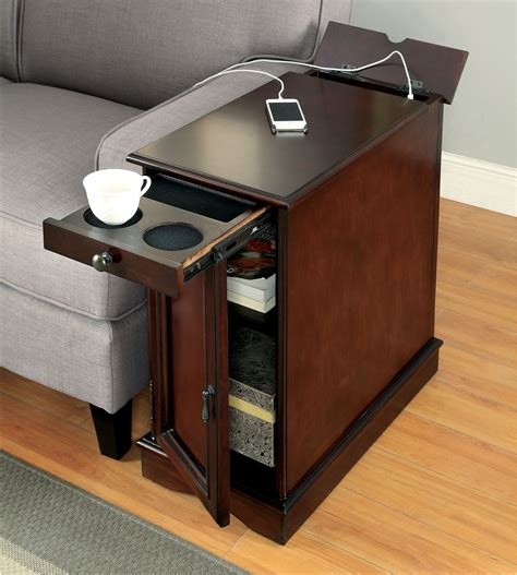 furniture end table with power grey storage side table w power end table