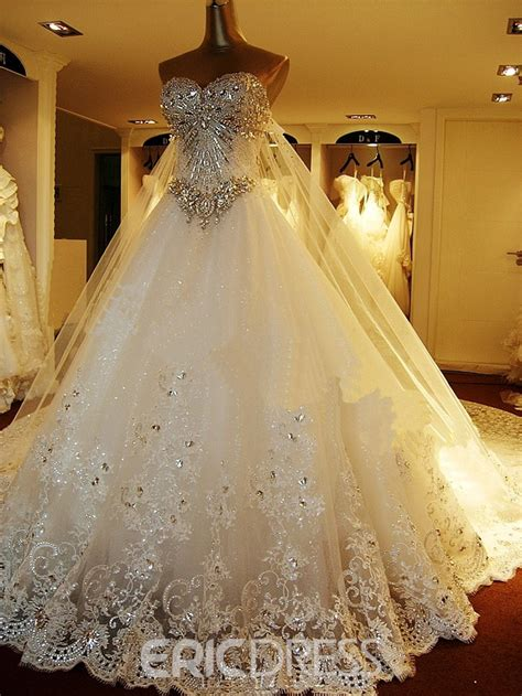 Ericdress Strapless Luxury Diamond Crystal Wedding Dress with Long Train 10793349   Ericdress.com