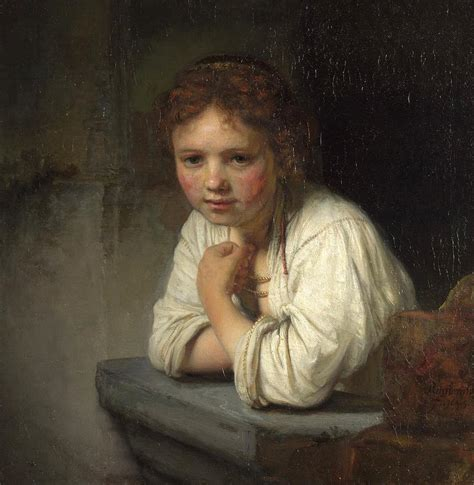Window Curtain Online by At A Window Painting By Rembrandt Van Rijn