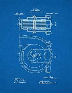 Tesla Electric Car Blueprint Tesla Fluid Propulsion Patent Blueprint Poster 24 X