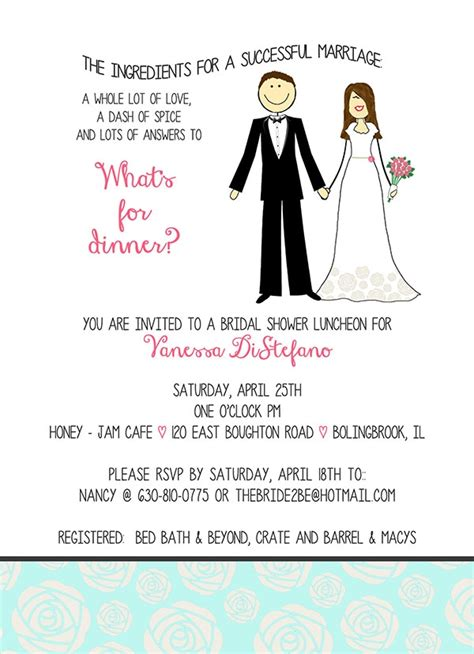 wedding shower for and groom stick kitchen recipe wedding shower invite l pj greetings