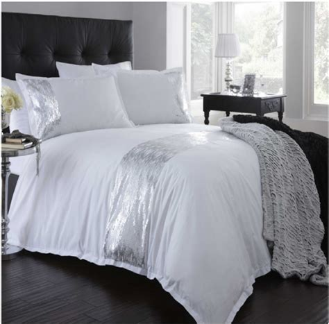 sequin bedding set portfolio shimmer white silver sequin duvet set quilt