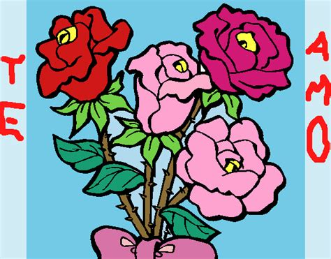 ramos de rosas para san valentin dibujo de ramo de rosas para colorear dibujos de fiestas