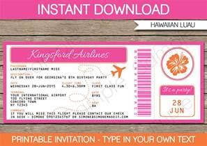 luau boarding pass invitations party decorations