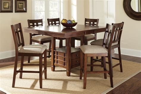 dining room set square counter height efurniture mart steve silver bolton 7 piece 48 inch square counter height