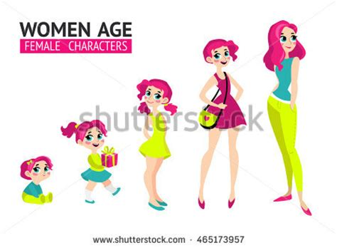 Growing Up Marc Style by Set Characters Flat Style Stock Vector