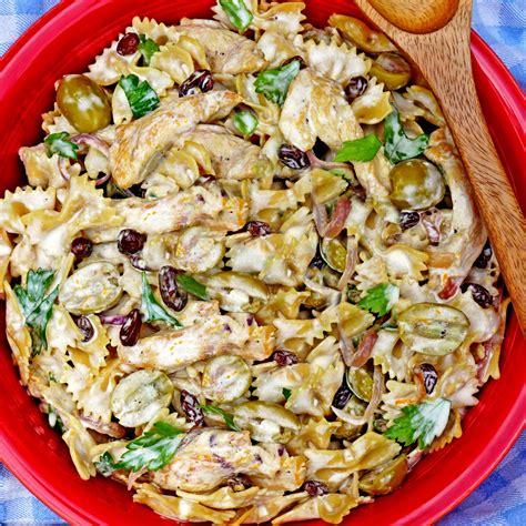 the best creamy chicken pasta salad creamy chicken pasta salad with green olives and raisins