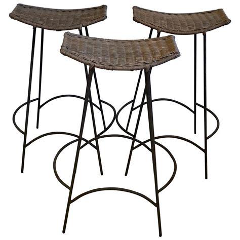 Umanoff Bar Stools by Three Arthur Umanoff Iron And Rattan Bar Stools At 1stdibs